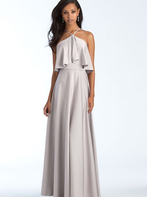 1556 Silver halter Bridesmaid dress