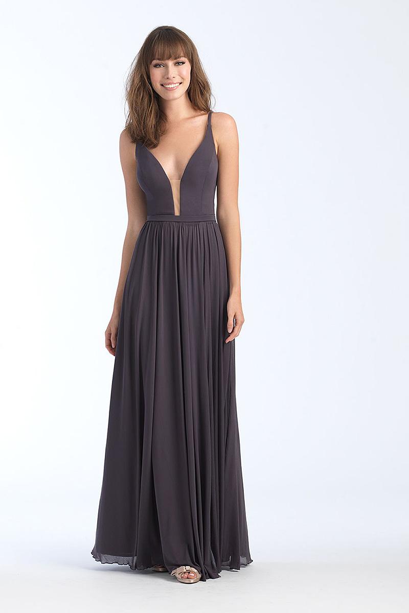 1557 Smoke A-line skirt bridesmiad dress