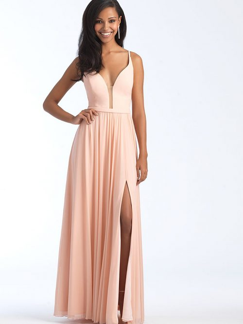 1557 Peach A-line skirt bridesmiad dress