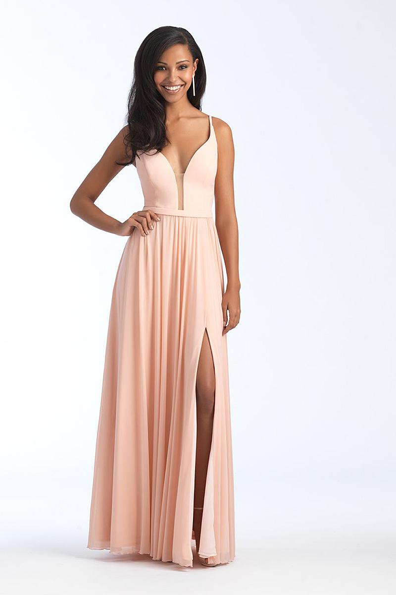 1557 Peach A-line skirt bridesmiad dress