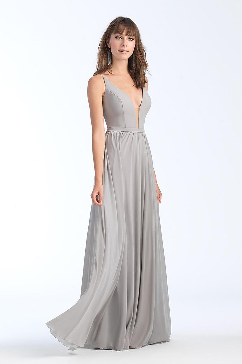 1557 Silver A-line skirt bridesmiad dress
