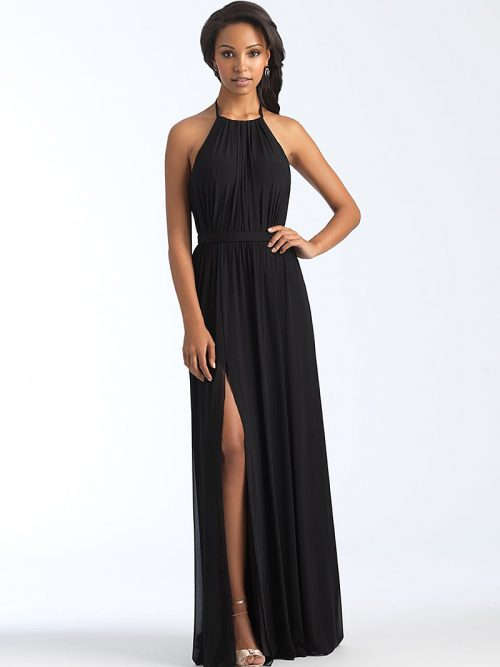 1559 Black backless bridesmaid dress