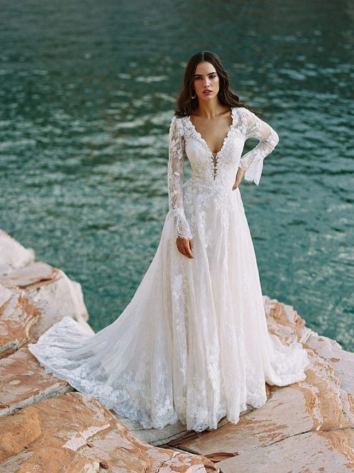 F195 Gwenyth sheer sleeves wedding dress