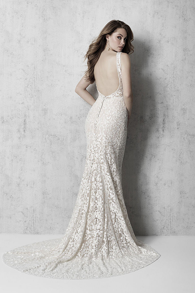 MJ607 Madison James Deep Neck Line Wedding Dress