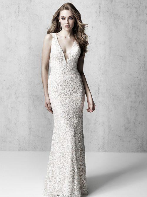 MJ607 Madison James Deep Neck Line Wedding Dress