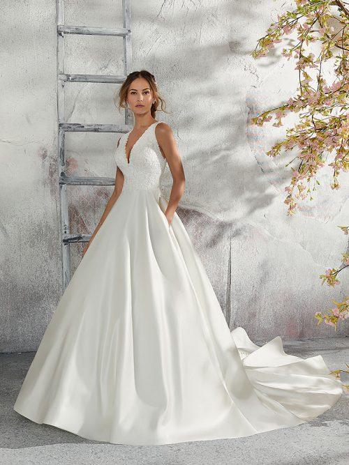 Mori Lee sleeveless designer bridal gown