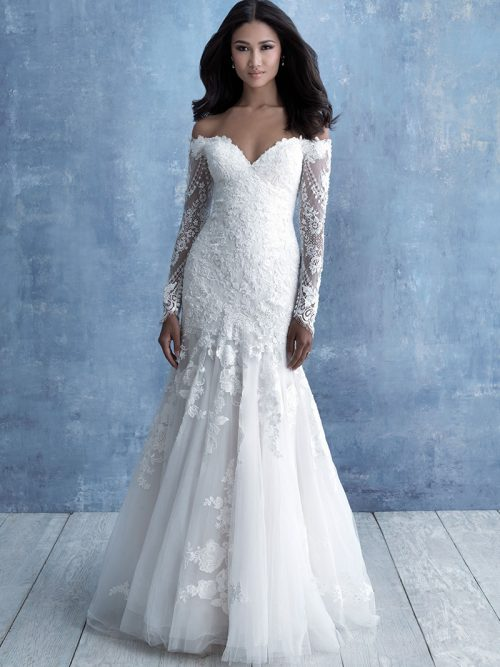 Allure Bridals Long Sleeved lace Gown 9706