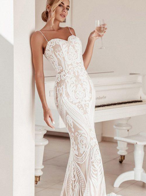Tina Holly Spaghetti Straps Wedding Dress BA999