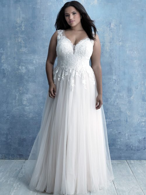 Sequined Lace Appliques over Tulle Bridal Gown W468