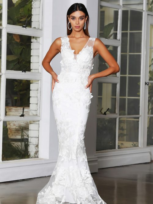 V Neck Fit & Flare Style Bridal Gown JX4063 Jadore